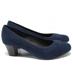 Дамски обувки на среден ток за Н крак Jana 8-22474-24H т.син | Немски обувки на ток | MES.BG