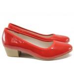 Дамски лачени обувки на среден ток Jana 8-22360-24H червен лак | Немски обувки на ток | MES.BG