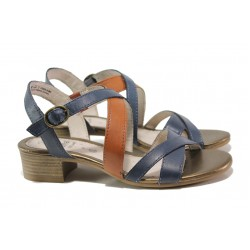 Анатомични дамски сандали от естествена кожа Jana 8-28256-24 син | Немски сандали на ток | MES.BG