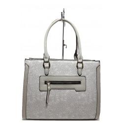 Стилна дамска чанта с цветни мотиви ФР 6161 сив | Дамска чанта | MES.BG