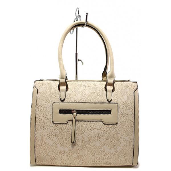 Стилна дамска чанта с цветни мотиви ФР 6161 бежов | Дамска чанта | MES.BG