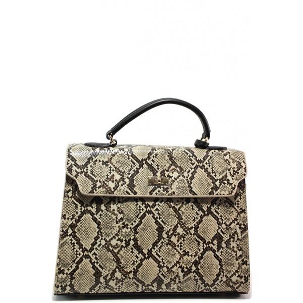 Стилна дамска чанта ФР 85951 бежов змия | Дамска чанта | MES.BG