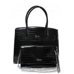 Дамска чанта с органайзер ФР 6141 черен кроко | Дамска чанта | MES.BG