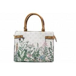 Красива дамска чанта с флорален принт ФР 2275 бял цветя | Дамска чанта | MES.BG
