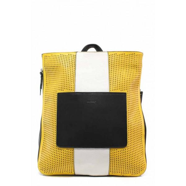 Модерна дамска чанта-раница ФР 8430-34 жълт   Дамска чанта   MES.BG