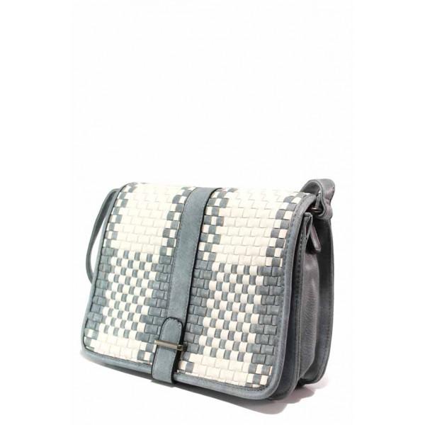 Ефектна дамска чанта през рамо ФР 25378 син | Дамска чанта | MES.BG