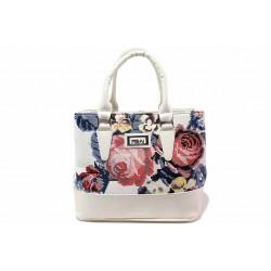 Стилна дамска чанта със свеж флорален мотив / СБ 1194 бял рози / MES.BG