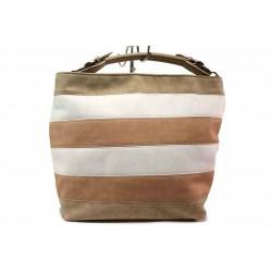 Голяма дамска чанта тип торба в свежи пастелни цветове / СБ 1200 бял-бежов / MES.BG