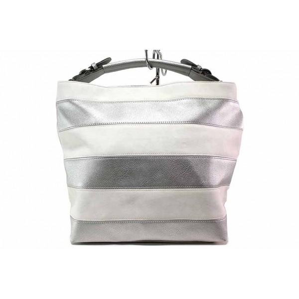 Българска дамска чанта тип торба с удобно вътрешно разпределение / СБ 1200 бял-сребро / MES.BG