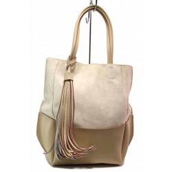 Модерна българска дамска чанта с пискюл / СБ 1264 бежов / MES.BG