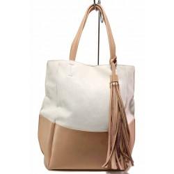 Практична дамска чанта в двуцветна комбинация, висококачествена изработка / СБ 1264 бял-розов / MES.BG