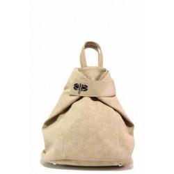 Дамска чанта трансформираща се в раница, практични джобове / СБ 1266 бежов / MES.BG
