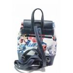 Стилен модел дамска раница с капак и флорален мотив / СБ 1220 син цветя / MES.BG