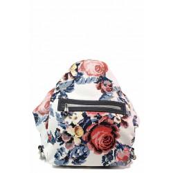 Модерна дамска чанта-раница 2в1 с флорален мотив / СБ 1260 бял-цветя / MES.BG