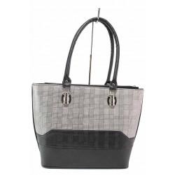 Модерна дамска чанта, еко-кожа, класически десен пепит / Съни 681-5 сив-черен / MES.BG