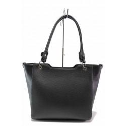 Стилна дамска чанта, еко-кожа, дълга дръжка / Съни 739-5 черен / MES.BG