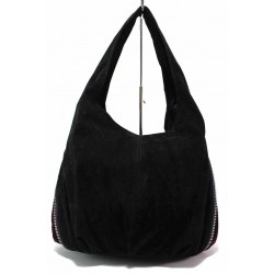 Дамска чанта, еко-велур, двуцветна / Съни 670-5 черен велур / MES.BG