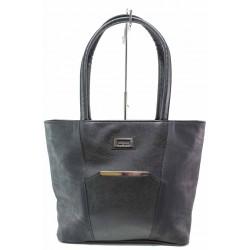 Българска дамска чанта, еко-кожа, допълнителна дълга дръжка / Съни 701 черен / MES.BG