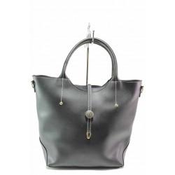 Дамска чанта, еко-кожа, българска, дълга дръжка / Съни 134 черен / MES.BG