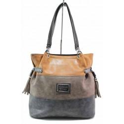 Българска дамска чанта, еко-кожа, три цвята, дълга дръжка / Съни 565 кафяв-черен / MES.BG