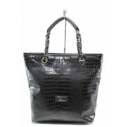 Атрактивна дамска чанта, еко-кожа с кроко мотив, българска / Съни 529 черен кроко / MES.BG