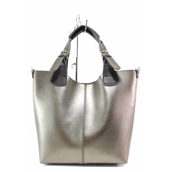 Българска дамска чанта, еко-кожа, органайзер и портмоне, дълга дръжка / Съни 718 бакър / MES.BG