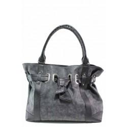 Атрактивна дамска чанта, еко-кожа мейс, българска, дълга дръжка / Съни 1012-Б сив / MES.BG