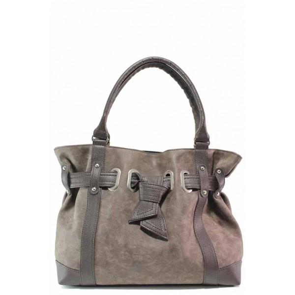 Модерна българска дамска чанта, еко-кожа мейс, дълга дръжка / Съни 1012-Б кафяв / MES.BG