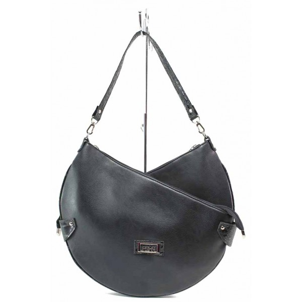Уникална дамска чанта, еко-кожа, самостоятелни прегради, дълга дръжка / Съни 201 черен / MES.BG