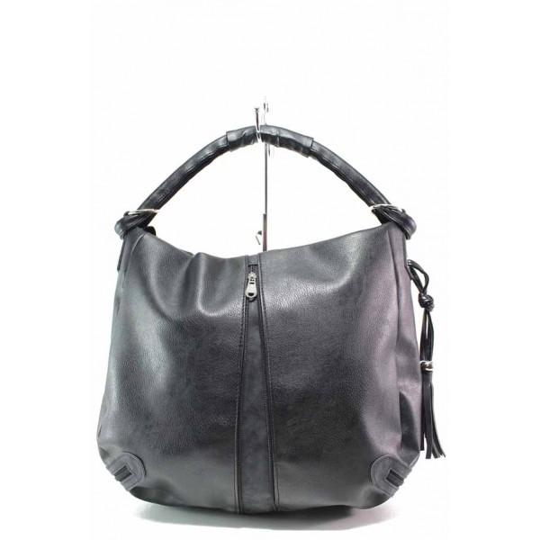 Българска дамска чанта, еко-кожа, външен цип за регулиране на размера / Съни 539 черен / MES.BG