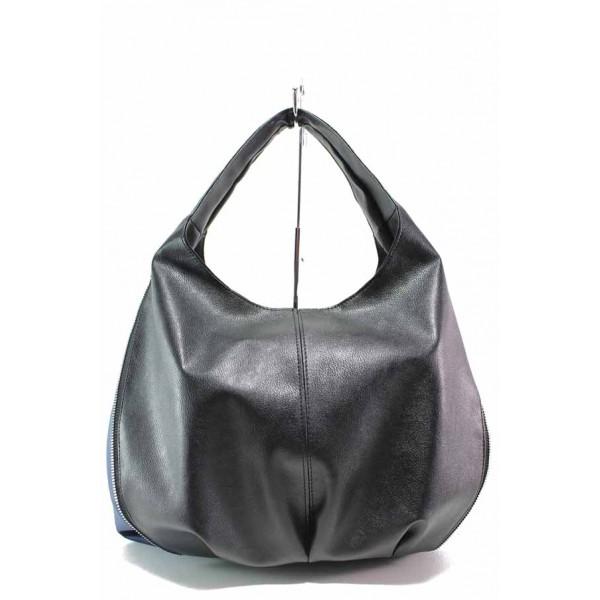 Практична дамска чанта, еко-кожа, двуцветна, външен цип / Съни 670-5 черен кожа / MES.BG