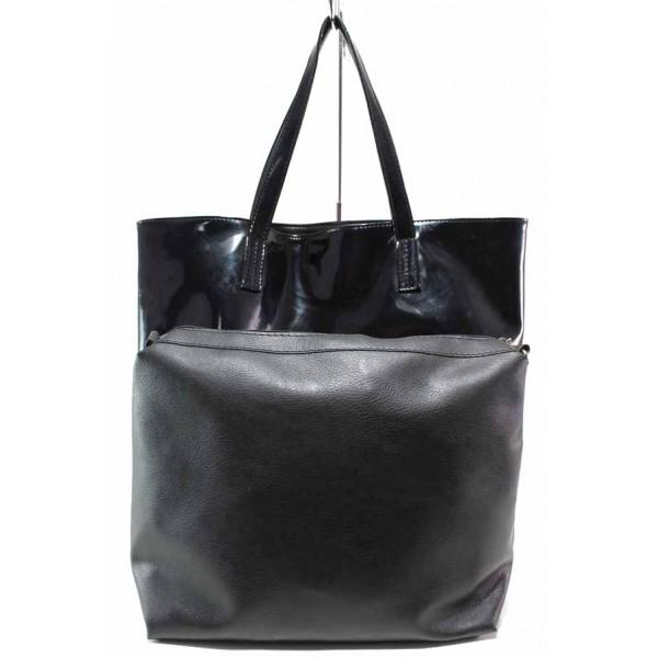 Българска дамска чанта, две лица, еко-кожа и еко-кожа лак, органайзер / Съни 517-5 черен кожа-лак / MES.BG