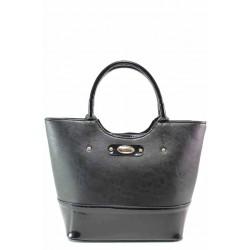 Дамска чанта, българска, еко-кожа и лак, допълнителна дръжка / Съни 748-5 черен кожа-лак / MES.BG