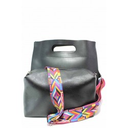Атрактивна дамска чанта, еко-кожа, българска, органайзер, ефектна дръжка / Съни 703-5 черен / MES.BG