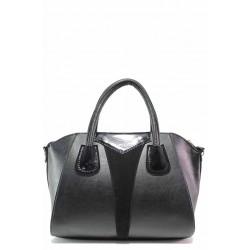 Кокетна дамска чанта, еко-кожа, българска, допълнителна дръжка / Съни 975-5 черен / MES.BG