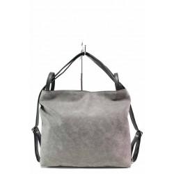 Българска дамска чанта-раница, еко-кожа мейс, допълнителна дълга дръжка / Съни 726 сив / MES.BG