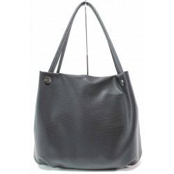Ежедневна дамска чанта, релефна еко-кожа, пришити дръжки / Съни 685-5 черен / MES.BG