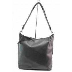 Практична дамска чанта, еко-кожа, дълга дръжка, среден джоб с тик-так / Съни 717-5 черен / MES.BG