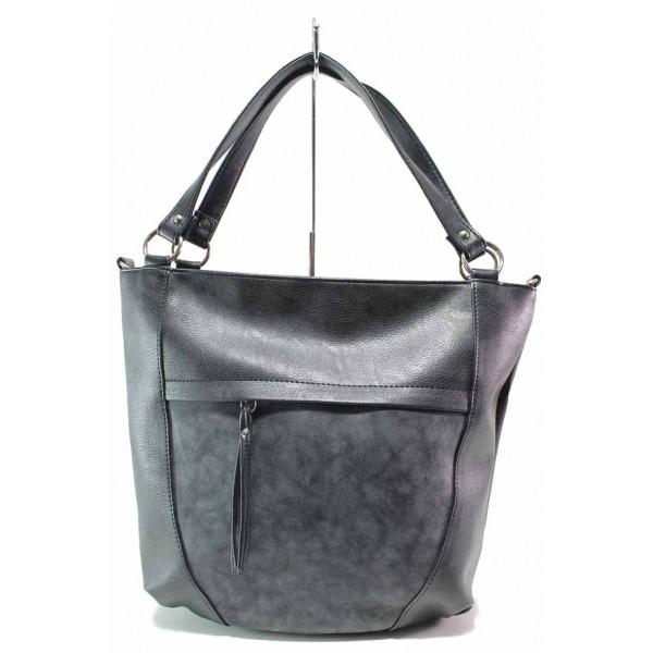 Дамска чанта, еко-кожа и кожа мейс, българска, дълга дръжка / Съни 712 черен / MES.BG