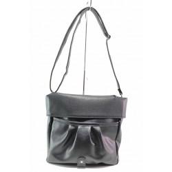 Дамска чанта с дълга дръжка, българска, еко-кожа, подвижна горна част / Съни 841 черен / MES.BG