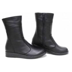 Български боти, дамски, анатомични, естествена кожа, удобни, топли / НЛМ 100-6656 черен / MES.BG