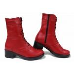 Български боти, дамски, анатомични, изработени от естествена кожа, топли / НЛМ 125-6658 червен / MES.BG