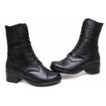 Ежедневни дамски боти, естествена кожа, български, анатомични, среден ток, топли / НЛМ 125-6658 черен / MES.BG