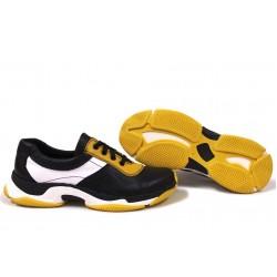Анатомични български маратонки от естествена кожа НЛМ 131-КРОС черен-жълт-бял | Дамски спортни обувки | MES.BG