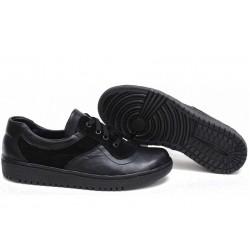 Анатомични български обувки от естествена кожа НЛМ 131-1608 черен кожа-велур | Равни дамски обувки | MES.BG