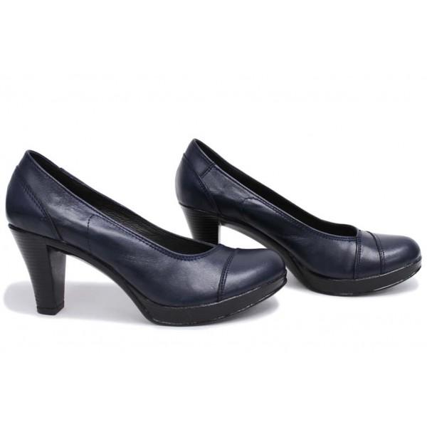 Анатомични български обувки от естествена кожа НЛМ 140-6843 синя кожа | Дамски обувки на висок ток | MES.BG
