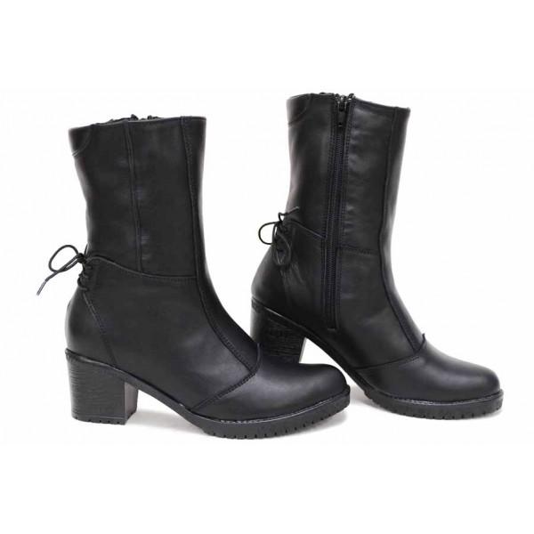 Български дамски боти, естествена кожа, анатомични, стилни, топли / НЛМ 154-1611 черен / MES.BG