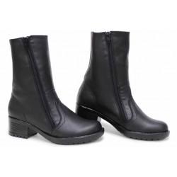 Дамски боти от естествена кожа, анатомични, български, топли, стабилен ток / НЛМ 159-6658 черен / MES.BG