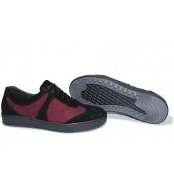 Анатомични български обувки от естествен набук НЛМ 162-367 бордо-черен | Ежедневни мъжки обувки | MES.BG