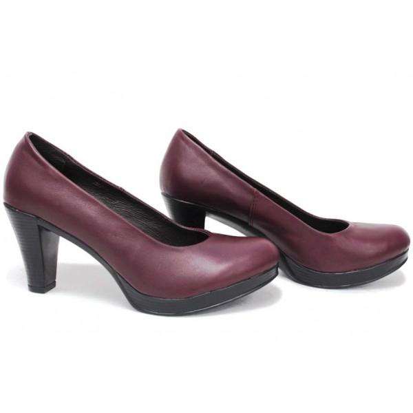 Анатомични български обувки от естествена кожа НЛМ 165-6843 бордо | Дамски обувки на ток | MES.BG